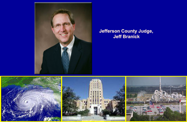 Jefferson County Judge Jeff Branick, satellite view of a hurricane over the Gulf of Mexico,