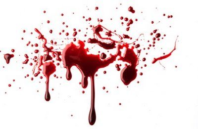 Blood spattered and dripping on a white background.
