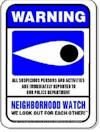 A blue Neighboorhod Watch sign.