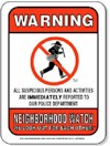 A red Neighboorhod Watch sign.